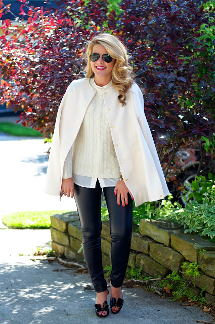 club monaco leather leggings and valentino bow pumps