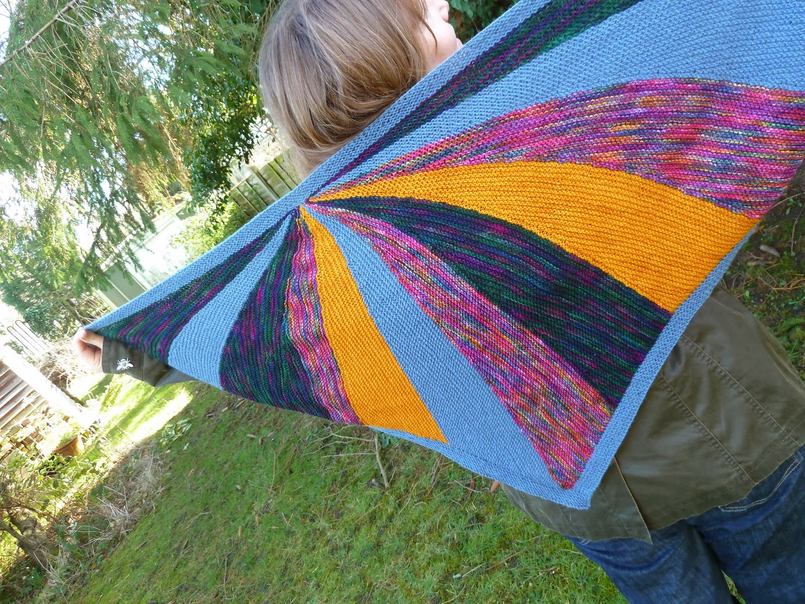 Finished Sunstruck shawl - handknit from pattern by Laura Aylor