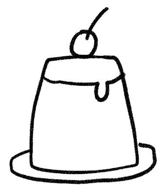 プリンのイラスト(お菓子) モノクロ線画