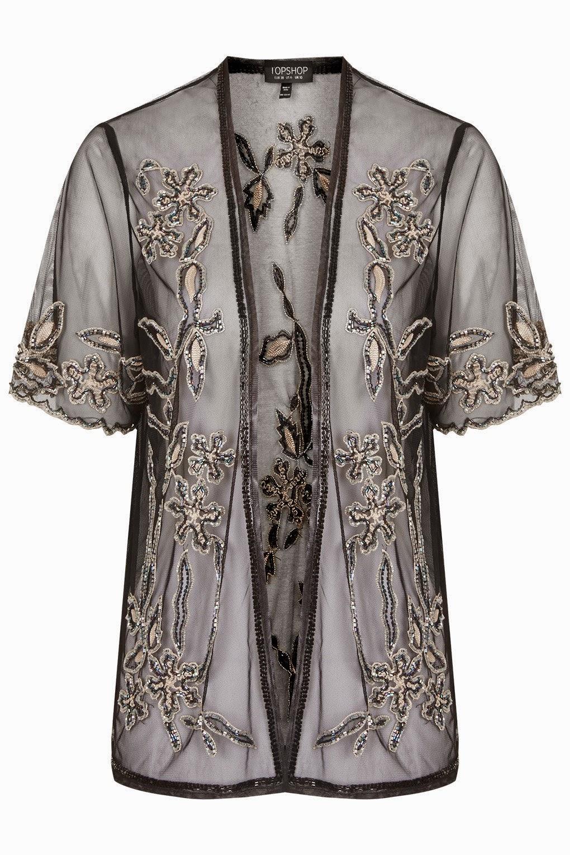 sheer kimono, embroidered kimono,