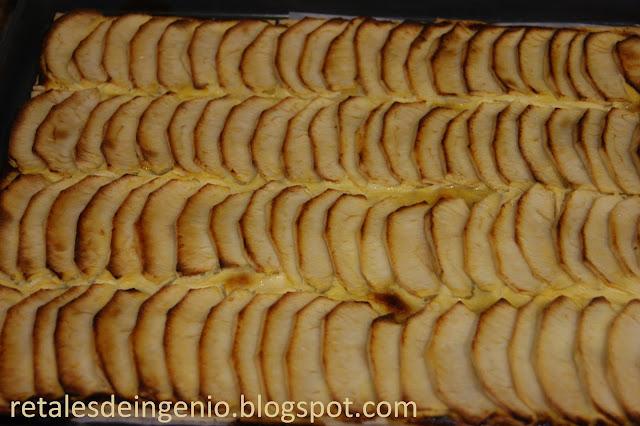 Tarta de hojaldre de manzana con crema ligera