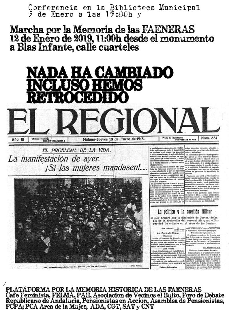 ACTOS DE CONMEMORACIÓN DE LAS FAENERAS DE MÁLAGA. Miércoles 9 y Sábado 12 de enero.