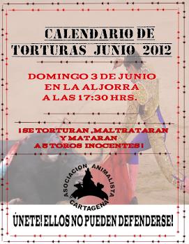 CRÓNICA DE LA PROTESTA ANTITAURINA EN LA ALJORRA (3-6-2012)
