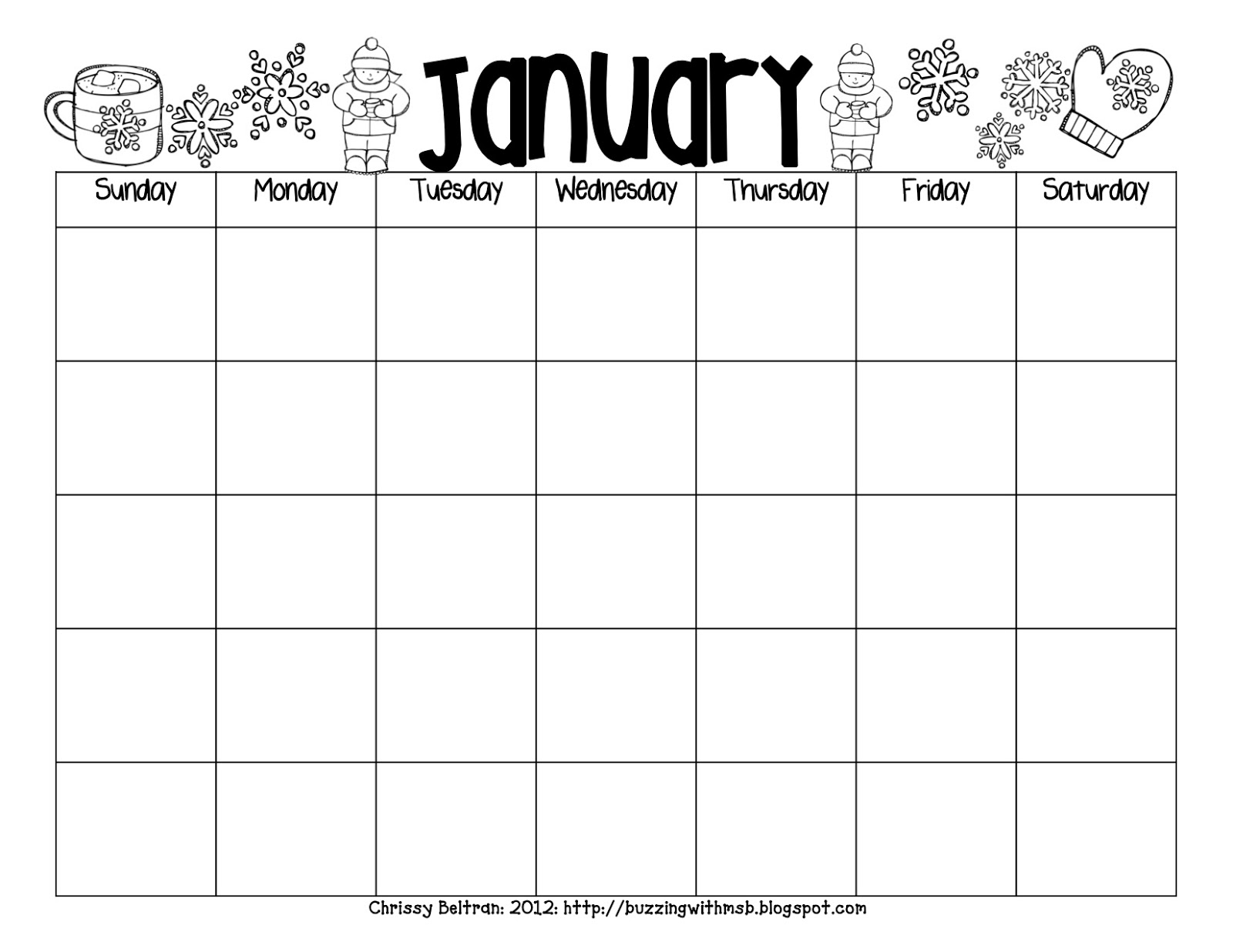 Black And White Printable 2016 Calendar | Calendar Template 2016