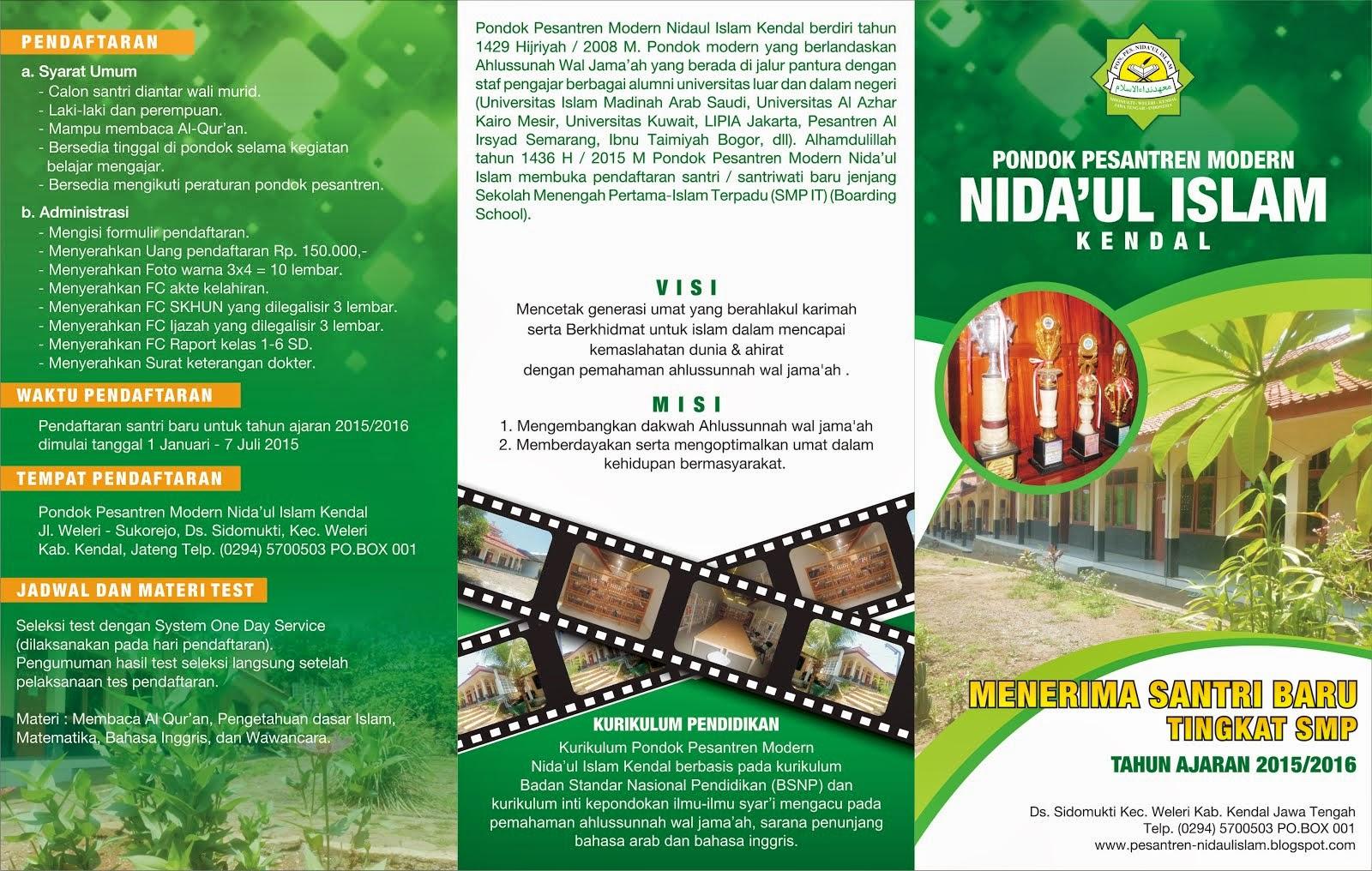 Pendaftaran Santri Baru Pondok Pesantren  Modern Nida'ul Islam Tahun Ajaran 2015-2016