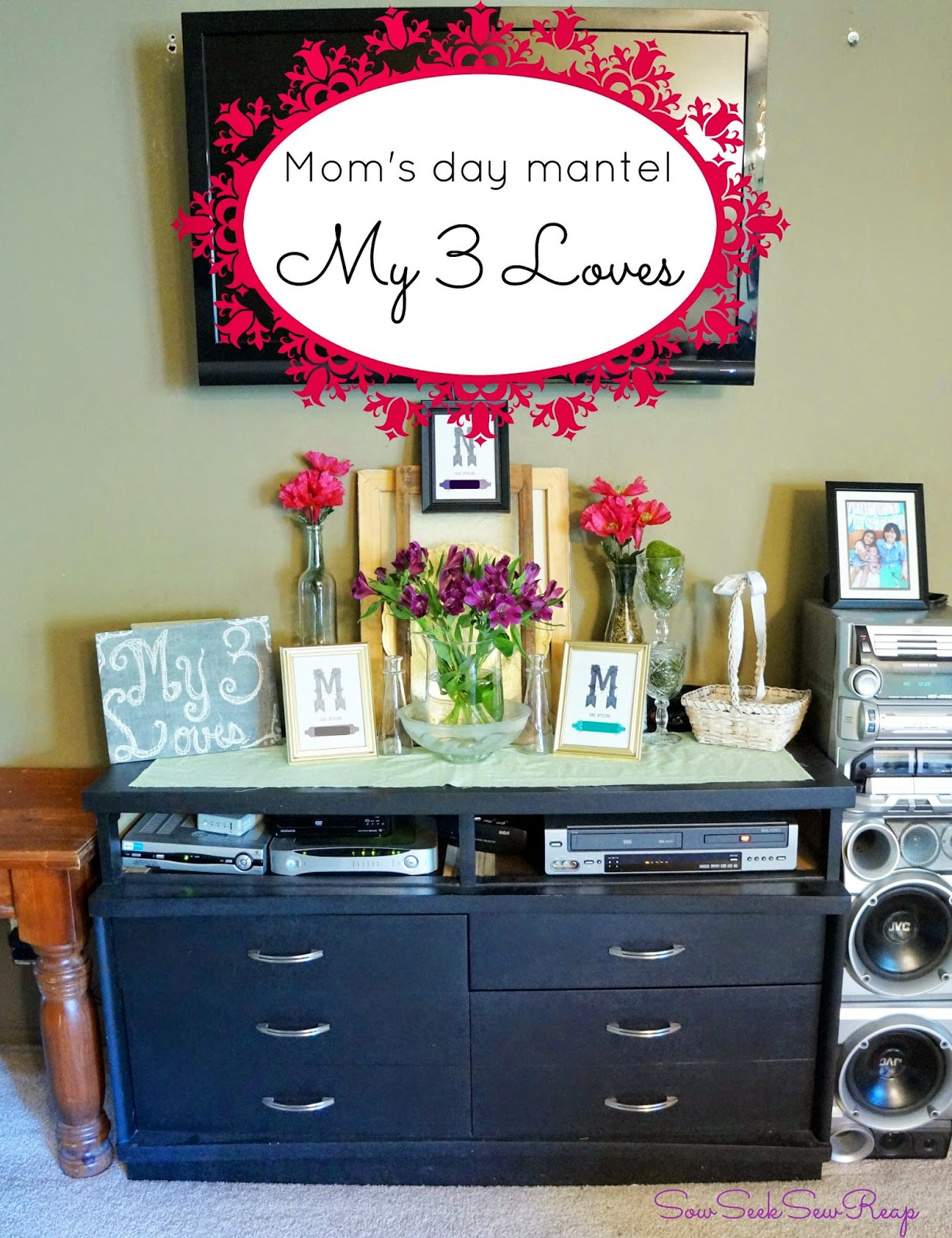 mom's day, mom's day decor, mom's mantel