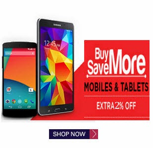 Mobiles & Tablets extra 2% off + Rs.50 off on Rs. 5000+ at Snapdeal