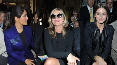 Salma Hayek Kate Moss  Olivia Palermo Stella McCartney Dior Paris Fashion Week 2012-2013.