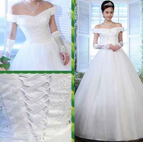 Vestidos de novia hombros caidos corte princesa