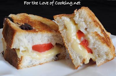 Grilled Havarti and Tomato on Kalamata Olive Bread
