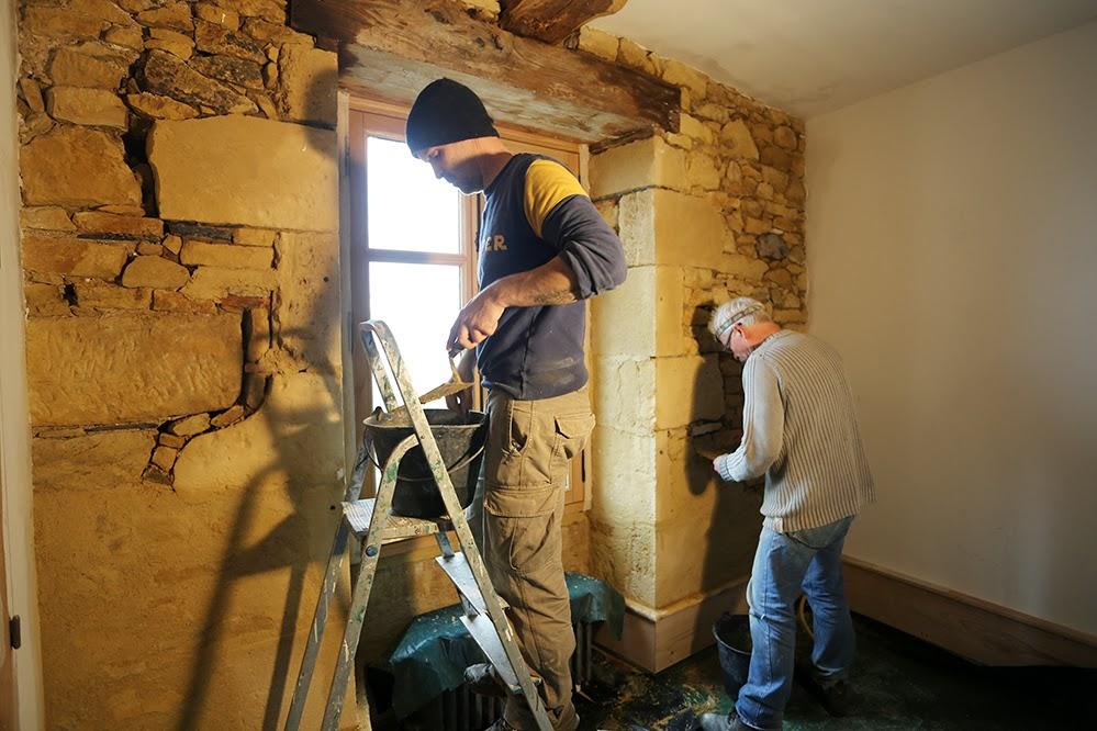 R novation de notre maison en dordogne premier mur rejointoy dans la grande maison - Dosage chaux sable joint ...