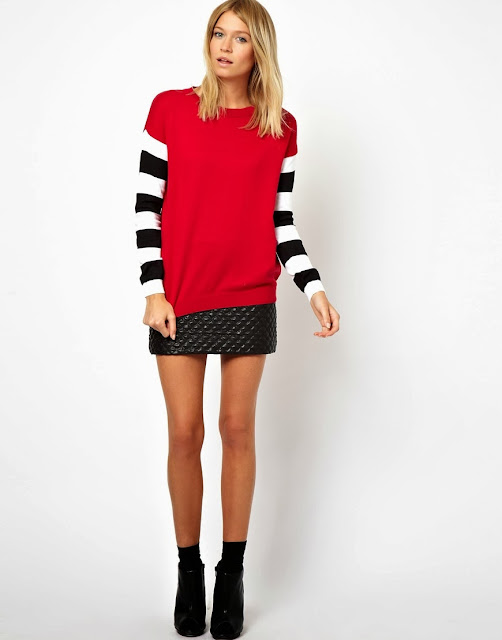 jumper with striped sleeves