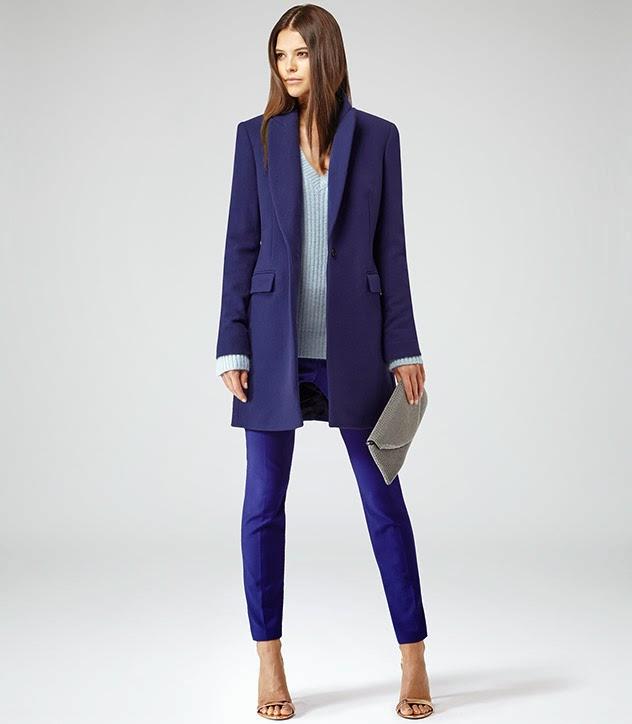 Reiss bright blue long coat
