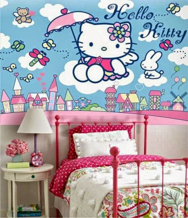 Gambar wallpaper dinding kamar tidur hello kitty lucu