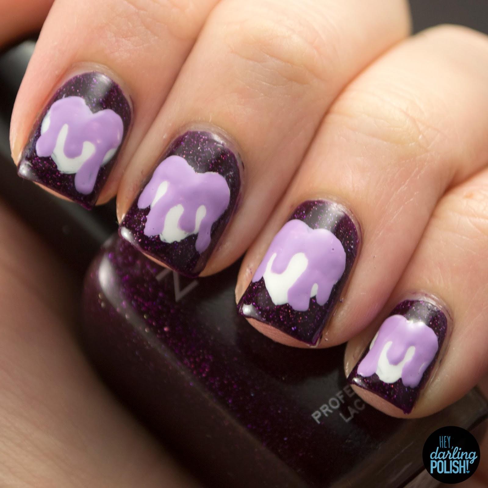 nails, nail art, nail polish, polish, hearts, purple, nail art a go go, slime, drips, hey darling polish
