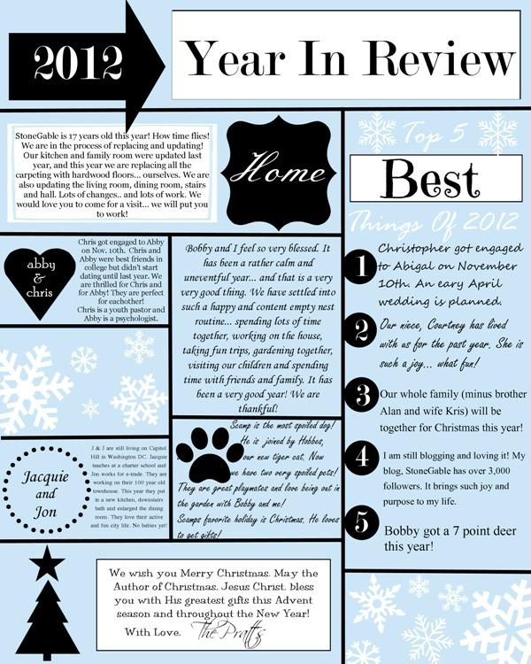 A YEAR IN REVIEW CHRISTMAS LETTER AND TEMPLATE StoneGable – Christmas Card Letter Templates