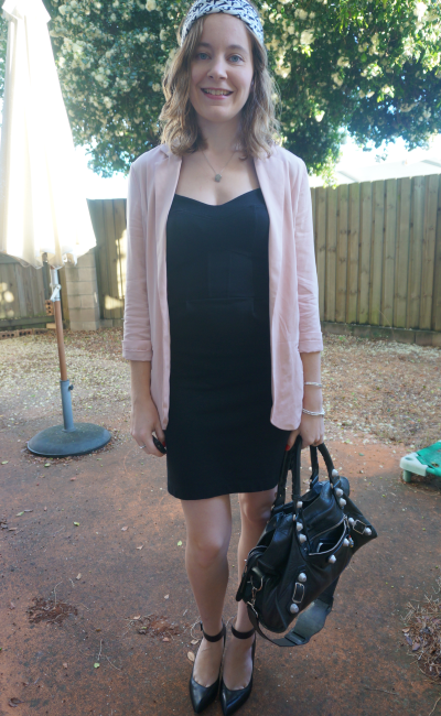 dusty pink pblazer french conenction little black dress Balenciaga part time heels office wear