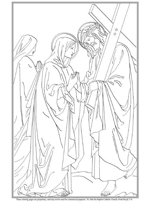 María encuentra a Jesús, cargado con la Cruz colorear