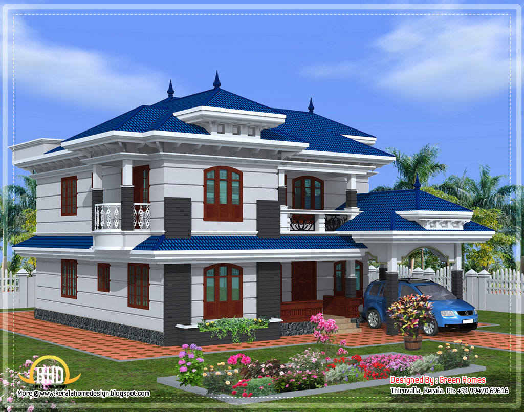 Beautiful kerala home design 2222 sq ft kerala home for Pics of beautiful houses