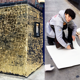 Visual artist, Cheryl Pope creates a gold leaf mural at the Allis Soho House.