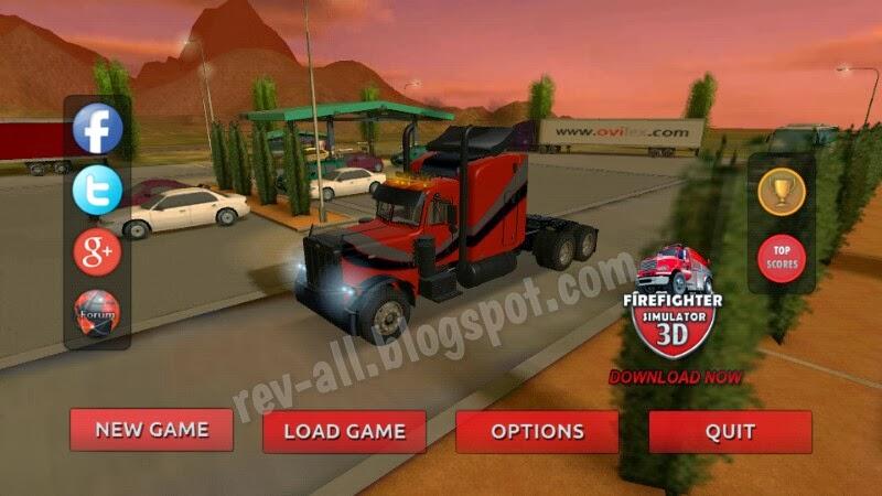 Tampilan utama - Truck Simulator 3D, permainan simulasi mengendarai truk untuk android (rev-all.blogspot.com)