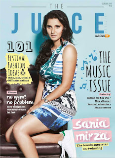 Sania Mirza Looks Stunning in a Short Dress on cover page of the Juice Magazine October 2015 by Jabong