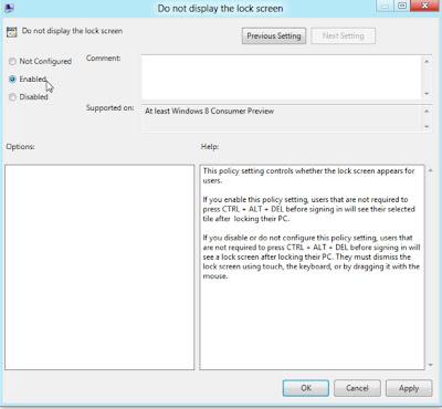 Các bước Tắt màn hình khóa trong Windows 8?