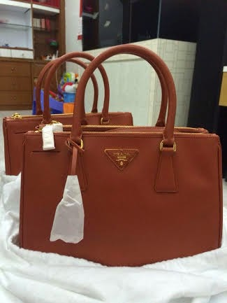 Prada BN1801 Saffinao Leather Tote-Rame