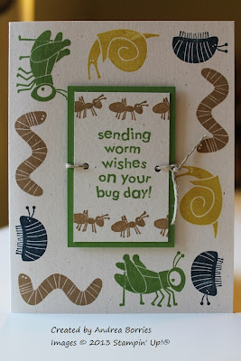 "White card with different bugs stamped around the border. The focal image is the sentiment ""Sending worm wishes on your bug day."""