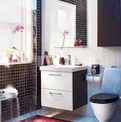 Colores oscuros en baños