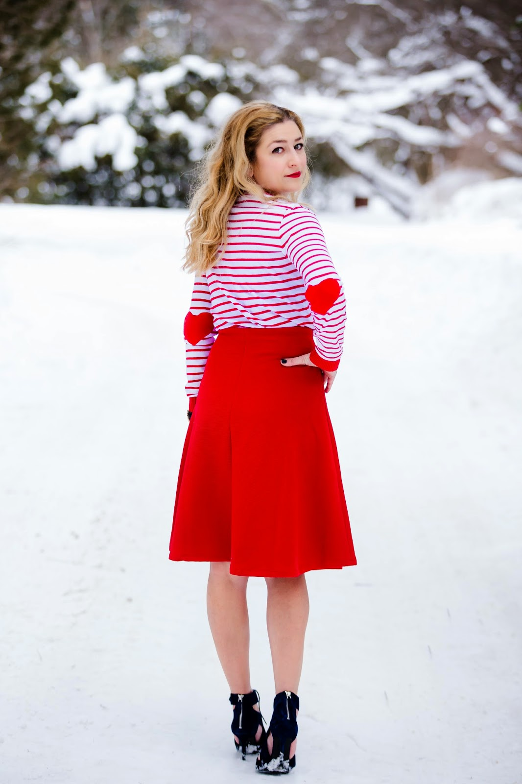 Heart patch sweater, a-line skirt