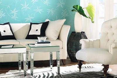 Salón con tonos azules