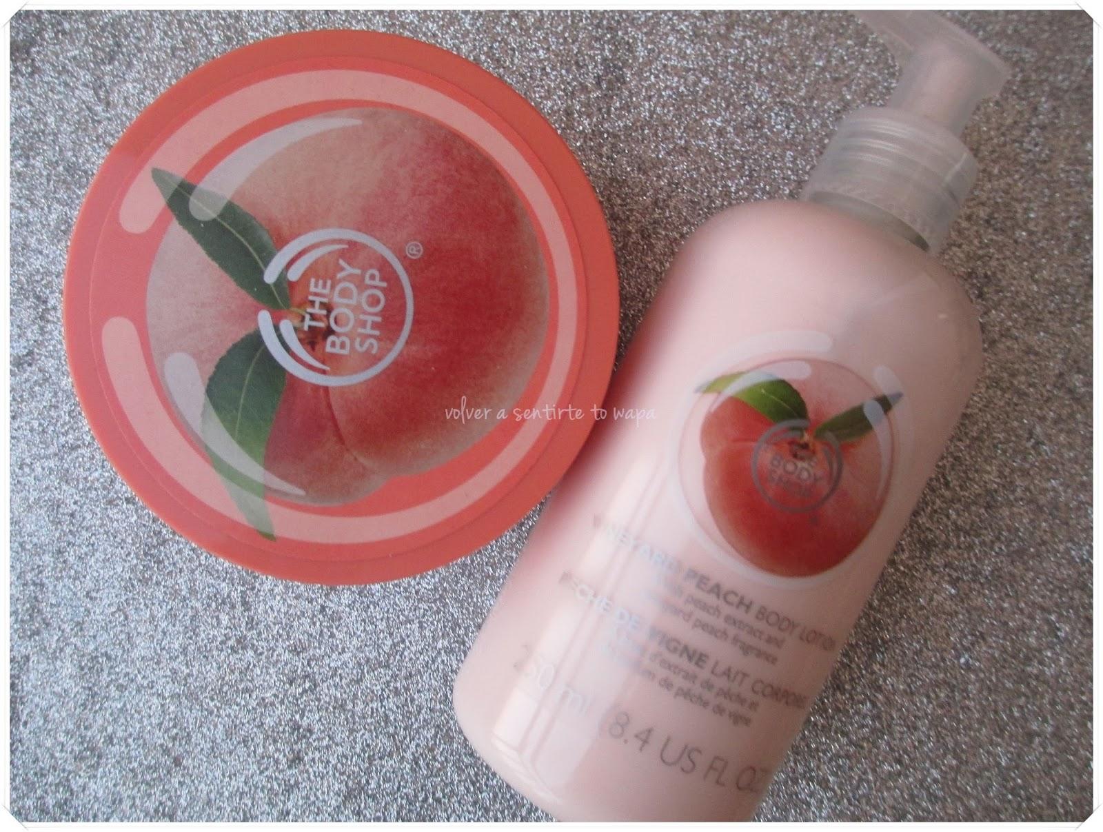 Rebajas en The Body Shop - Exfoliante corporal y leche de Melocotón