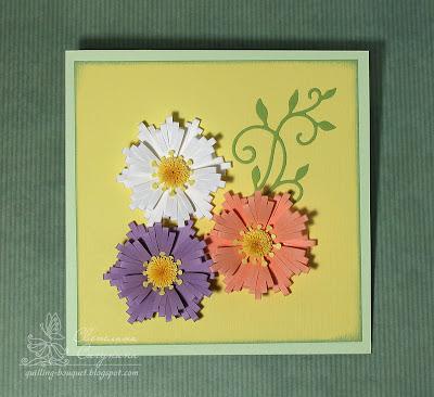 Квиллинг открытки с букетом