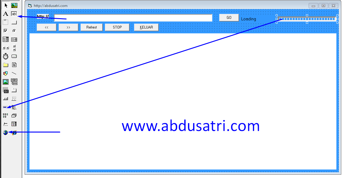 langkah-langkah membuat web browser di visual basic
