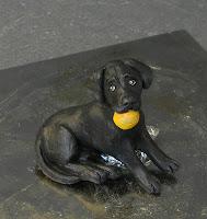 statuina cagnolino nero cucciolo per torta nuziale cake tops orme magiche