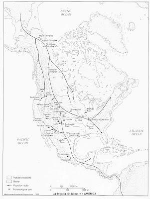 Mapa de La llegada del hombre a America 8000 aC (blanco y negro)