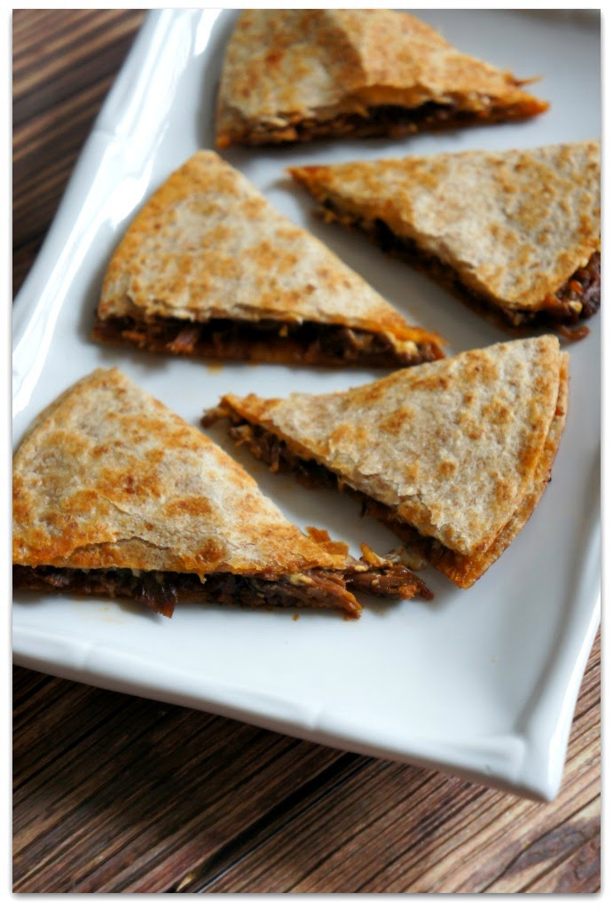 crockpot sloppy joe quesadillas as seen in from Freezer to Crock to Table e-book