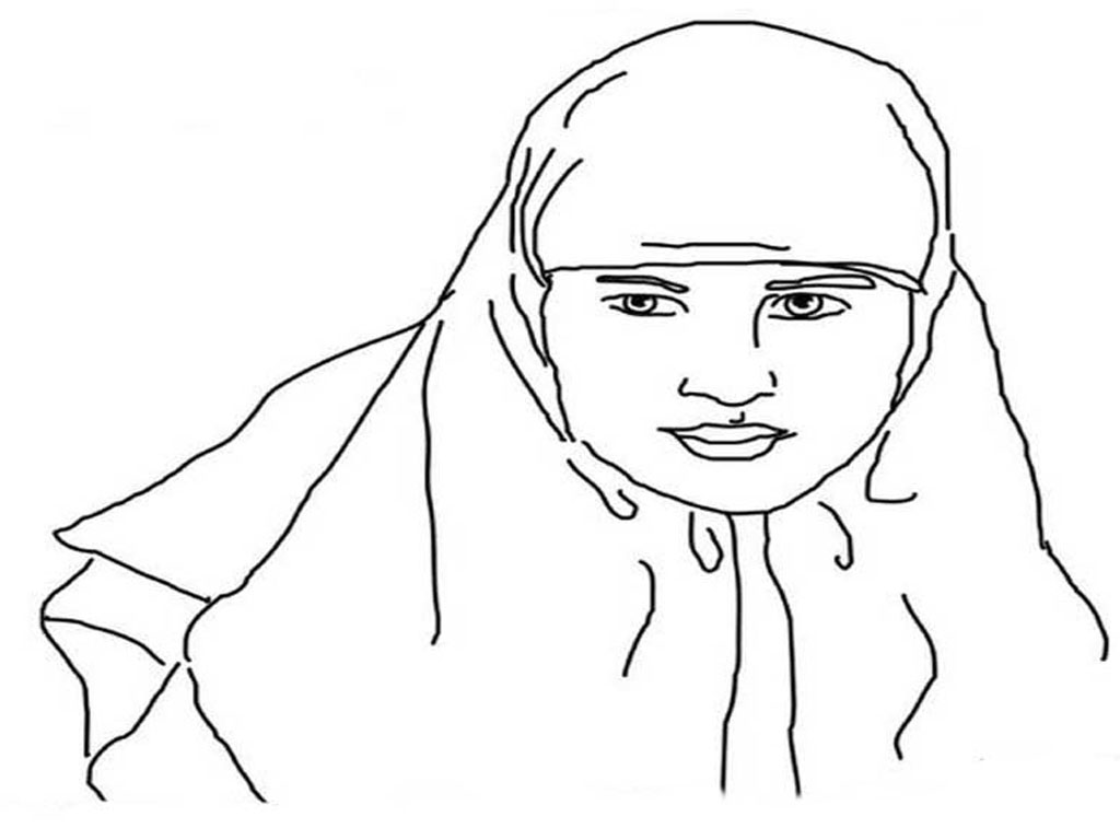 Gambar Sketsa Wajah Wanita Berjilbab Untuk Diwarnai Modelminimalis ...