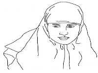Gambar Sketsa Wajah Wanita Berjilbab Untuk Diwarnai