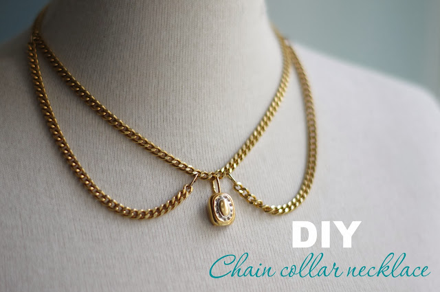 How to make a chain necklace collar. Step by step tutorial created by Xenia Kuhn for fashion blog www.fashionrolla.com
