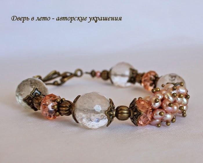 речной жемчуг, розовый браслет, браслет из натуральных камней