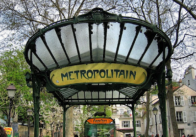 paris metropolitain abbesses art nouveau metro entrance