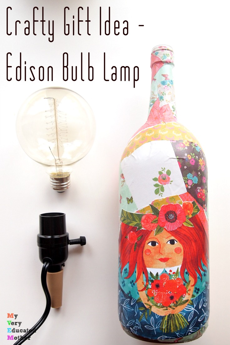 Great DIY gift idea you don't have to DIY! Gather these supplies together, box it up, and give it to your favorite crafter! Or decoupage a bottle, get the Edison bulb from Darice Crafts, plus the bottle adapter, and keep it for yourself!