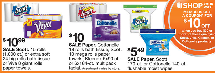 kmart sale paper Right now kmart is having a promotion, when you spend $15 on select items 8=10 rolls sparkle paper towels on sale now for $6 for a running total of $12.