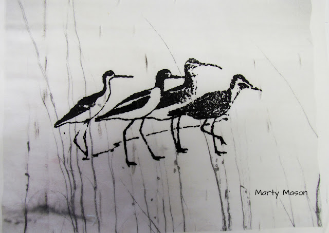 Sandpipers - screen printed on fabric