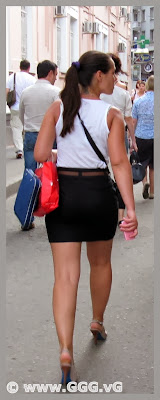 Girl in the black skirt on the street