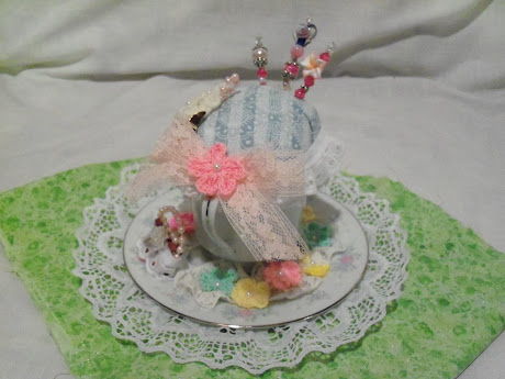 Tea Cup Pin cushion with I am Roses crocheted flowers