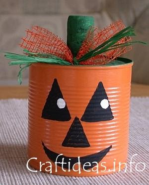 Pumpkin Craft Ideas Kids on Craft For Kids   Recycling Craft   Jack O  Lantern Pumpkin Can Craft