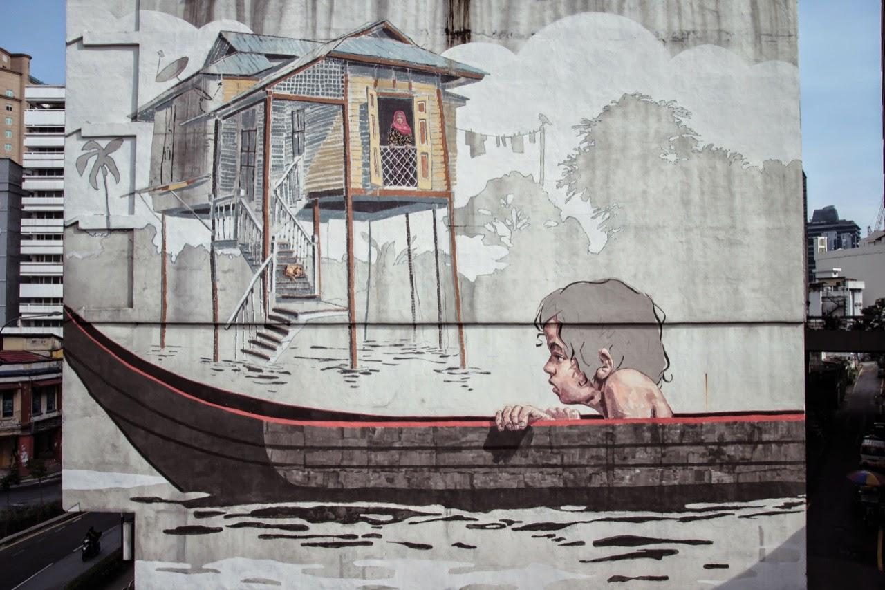 Ernest zacharevic new mural kuala lumpur malaysia for Mural 1 malaysia